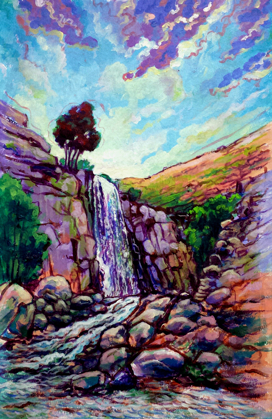 Ganjnameh-Waterfall_Hamadan_Iran_34x50cm_Acrylic-on-Canvas_2018